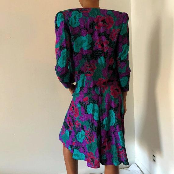 Vintage Purple Floral Two Piece Blazer Skirt Set … - image 3