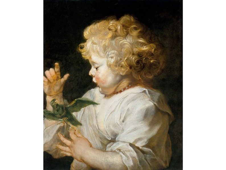 Oil Painting on Canvas as Wall Decor /& Gift Boy with Bird Baroque Peter Paul Rubens Flemish 5 Hand Painted Child Art
