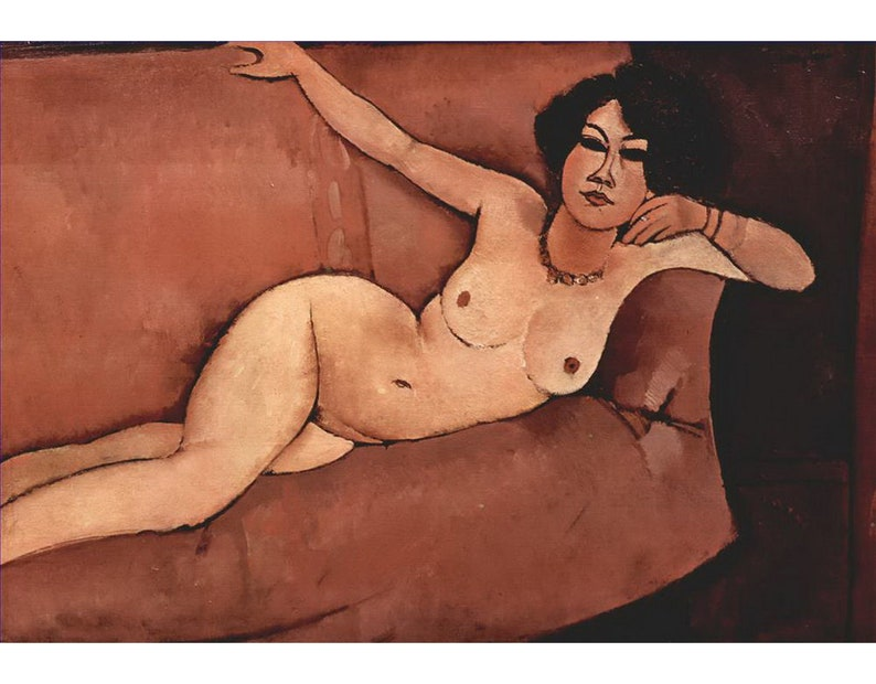 Oil Painting on Canvas as Wall Decor /& Gift reclining girl Italian 8 Hand Painted Nude Art by Amedeo Modigliani