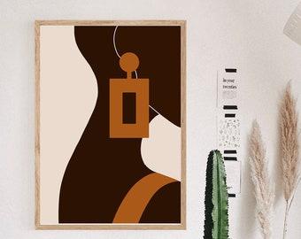 Bald Woman Art Print, Black Woman Art Print, Woman Art, Abstract Art Print, Digital Art Print, Minimalist Art