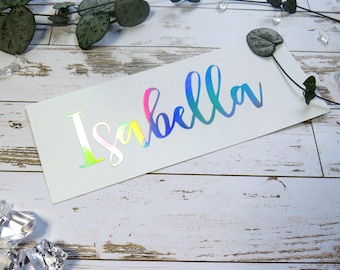 Custom Vinyl Name Stickers / Personalized Name Decal Sticker / Laptop Sticker / Water Bottle Sticker / Wedding Sign / Holographic Decal /