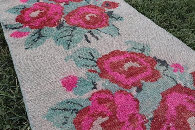 Floral Long Runner 2x9 Narrow Turkish Runner Rug Antique Beige Runner Rug Oushak Runner Pink Flowers 1.7x8.9 ft Hallway Runner Rug