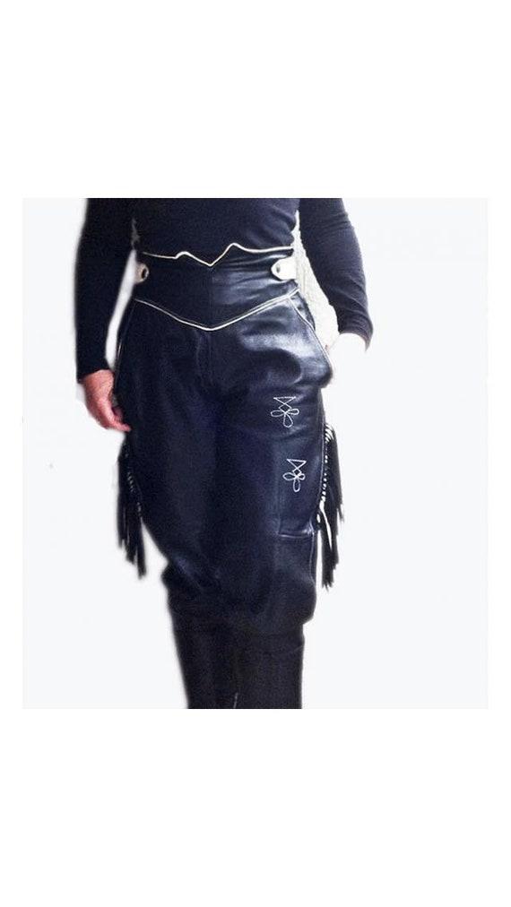 Black leather pants, 80s Biker Black leather Pant… - image 2