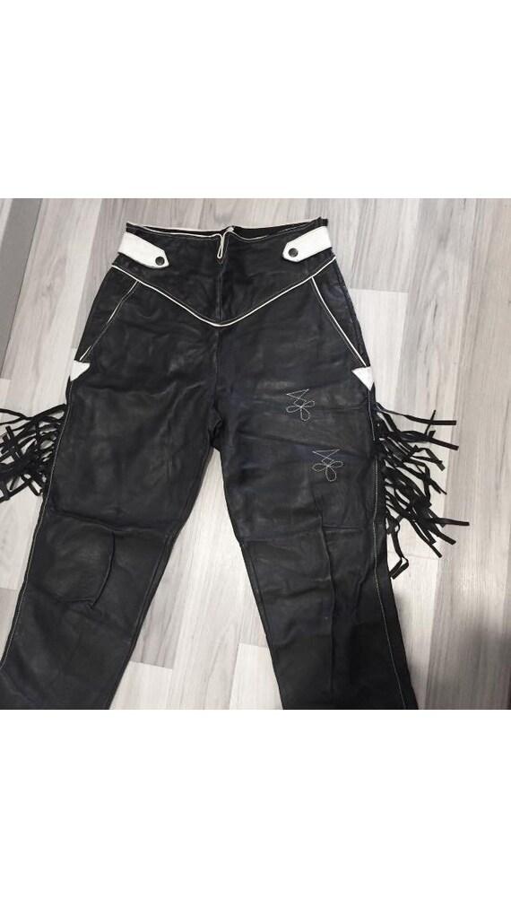 Black leather pants, 80s Biker Black leather Pant… - image 5