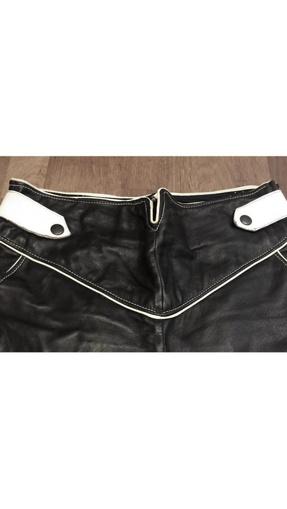 Black leather pants, 80s Biker Black leather Pant… - image 9