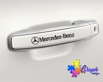 Mercedes AMG mirror sticker logo Decal Etched 4x Vinyl  sticker All  Mercedes