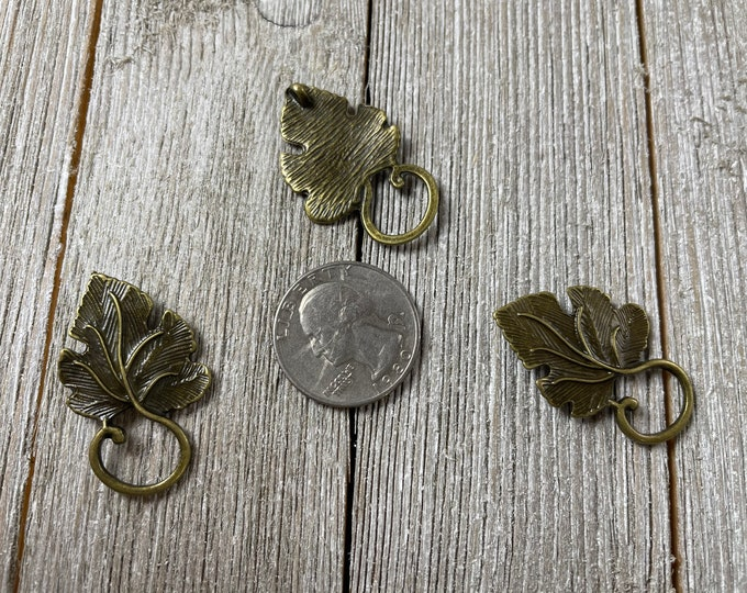 antique brass brass leaf charms Antique brass colored leaf charms metal leaf findings dangles