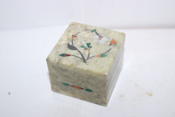 70/'s 80/'s Floral Mother of Pearl Inlaid Marble Soap Stone Trinket Box Stash Container