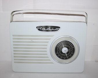 Vintage White Retro Radio with Handle Tin