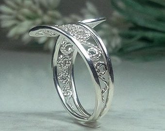 Silver lace ring, Vintage silver ring, Dainty filigree ring