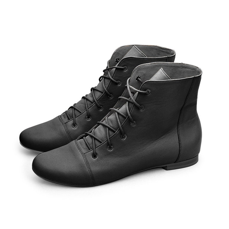 black boots Ankle boots leather boots Flat boots women leather shoes Lace up leather shoes  Handmade ankle shoes Booties lace up Greta