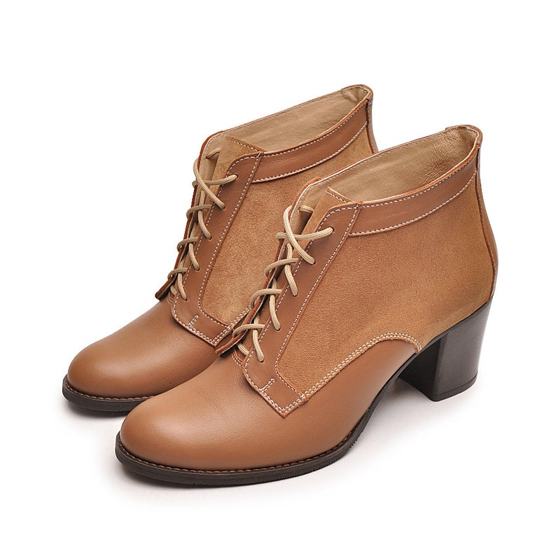 Nantes camel boots Lace up boots Leather shoes Ankle boots Ankle lace up boots Heel boots Heel booties Brown ankle boots Camel women shoes