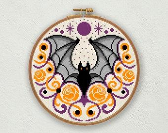 Halloween bat cross stitch pattern, Gothic cross stitch, Halloween cross stitch, Fall counted cross stitch, Vampire cross stitch, Goth decor