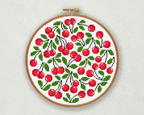 Red cherries cross stitch pattern Cherry cross stitch chart
