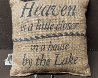 CLEARANCE SALE Burlap Pillow Farm Fresh is 6 Inches Square