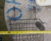 Vintage plant basket holder porch hanging basket bicycle basket shabby chic rustic garden decor