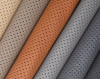 ITALIAN PERFORATED LEATHER sheets Genuine leather piece Automotive upholstery cowhides Grey color leather Beige leather Leather for crafting