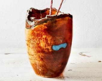 Maple Vase with Live Edge and Epoxy finish