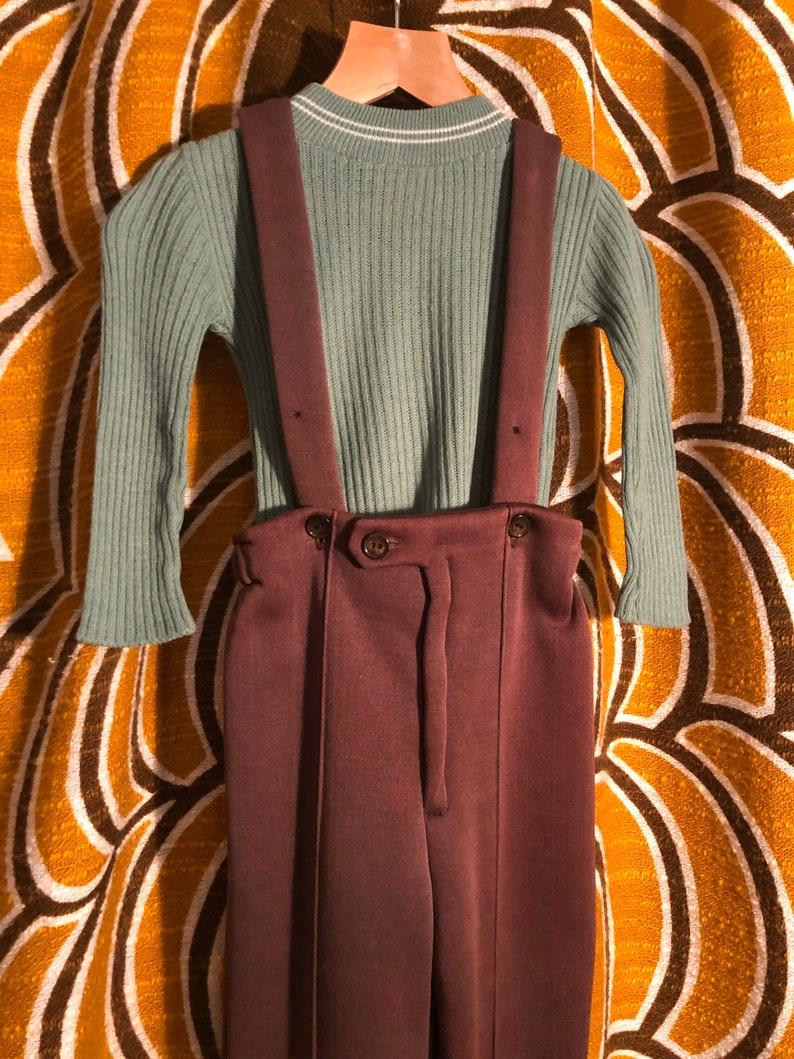 1970\u2019s Unisex kids Brown ski pant trouser with suspender straps.