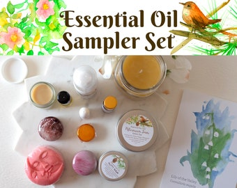 Beeswax Candle Essential Oil Sampler Set Aromatherapy Care Package Gift Box Aroma Oil Soap Room Spray