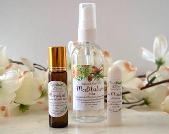 Meditation Essential Oil Gift Set Spray Mist Inhaler Roller Blend