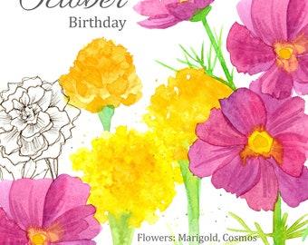 October Birthday Marigold Cosmos Botanical Blank Greeting Card