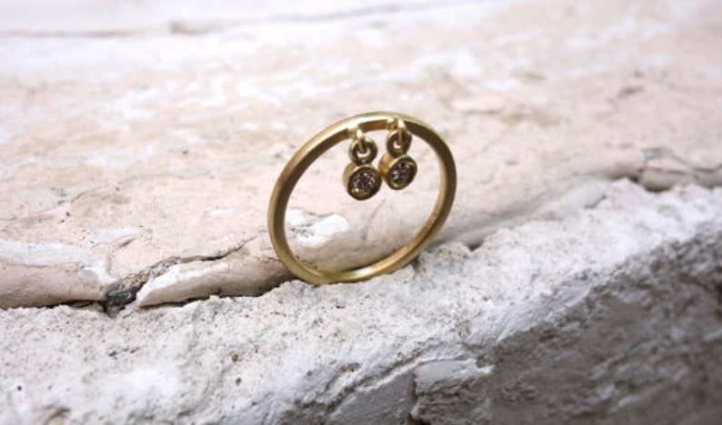 Moonchild ring Dangle charm ring Boho ring Celestial ring Gold dangle ring Dangle ring Graduation gift Witch ring Dainty ring