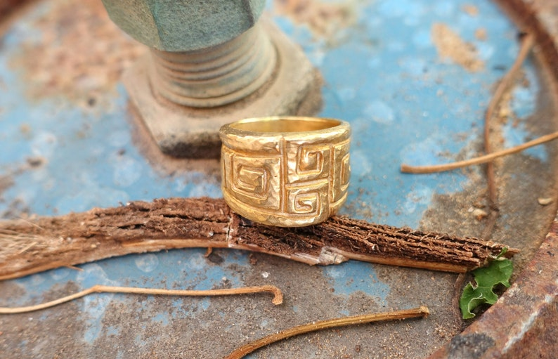 gold wedding ring Unique ring artistic gold jewelry Gold chunky ring for women chunky gold ring wide gold wedding band women