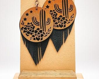 Desert Flower  Rose Cactus Printed Leather Earrings Bright Succulent Cactus  Blooming Cactus