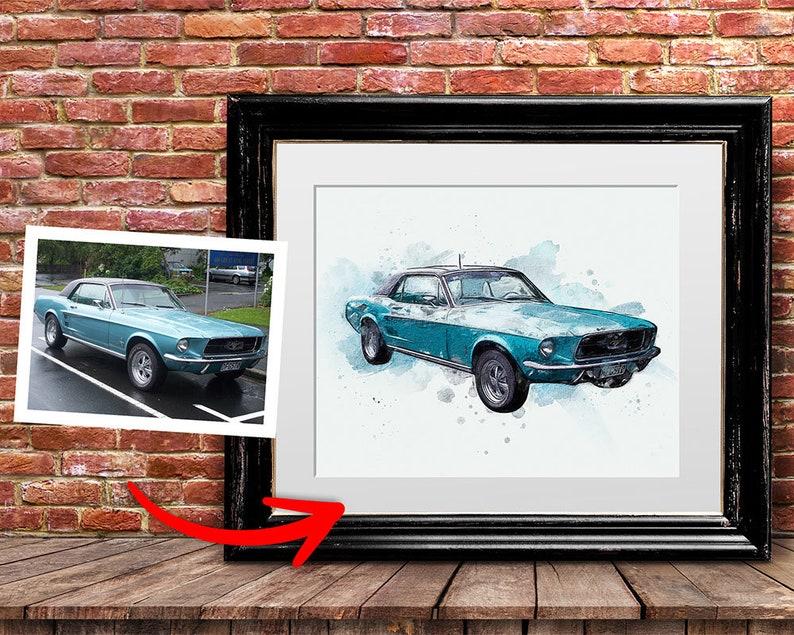 Custom car portrait. Gift for car lovers. Classic car image 0