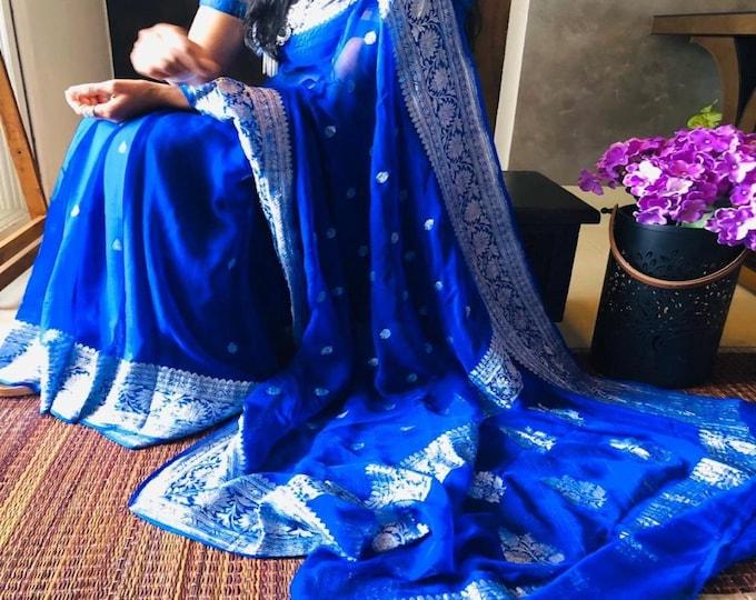 BLUE Exclusive Durga Puja Zari Work Pure Chiffon Banarasi Silk Handwoven Saree Designer Weaving Fabric Sari Women With Running Blouse Pece
