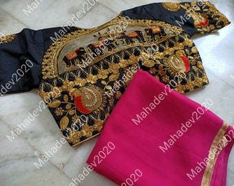 Set of 2 Combo Saree With Stitched Wedding Party Wear Sari Rajasthani Blouse Indian Designer Top Choli Bollywood Ethnic For Women CC1