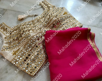 Set of 2 Combo Saree With Stitched Wedding Party Wear Sari Rajasthani Blouse Indian Designer Top Choli Bollywood Ethnic For Women