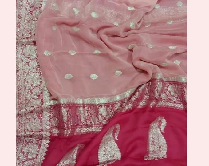 Peach Exclusive Durga Puja Zari Work Pure Chiffon Banarasi Silk Handwoven Saree Designer Weaving Fabric Sari Women With Running Blouse Pece