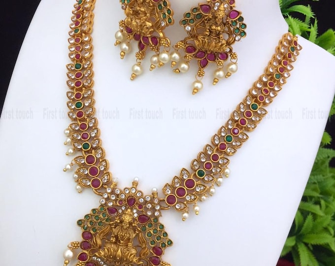 Traditional Matte Gold Bridal Jewellery South Indian Temple Jewelry Necklace With Earrings Set Gold Plated Handmade Indian Jewelry for women