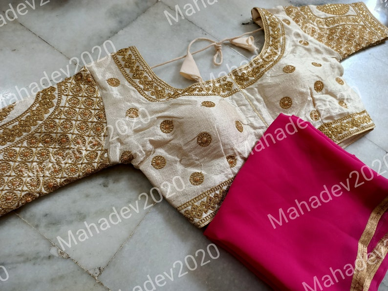 Set of 2 Saree Designer Blouse With Stitched Wedding Party Wear Sari Rajasthani Indian Top Choli Ethnic For Women