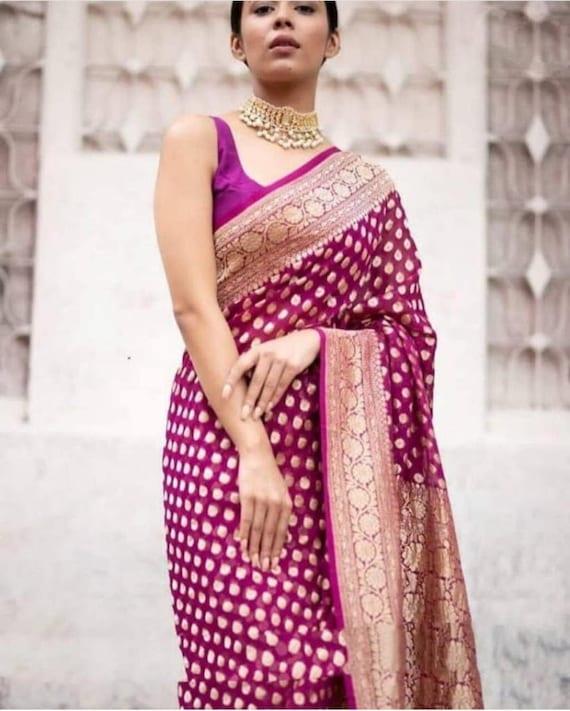Durga Puja Beautiful  Zari Work Pure Georgette Banarasi Silk Handwoven Saree Designer Weaving Fabric Sari Women With Running Blouse Piece