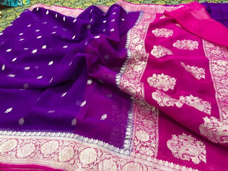 Green Exclusive Durga Puja Zari Work Pure Chiffon Banarasi Silk Handwoven Saree Designer Weaving Fabric Sari Women Running Blouse Pece