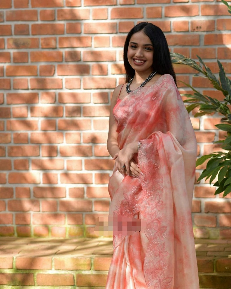 Organza Silk Saree Viscose Thread CutWork Sari Silk Blouse Designer Sari Women/'s Clothing Indian Top Wedding Saree Bridal Gifts Bridesmaid