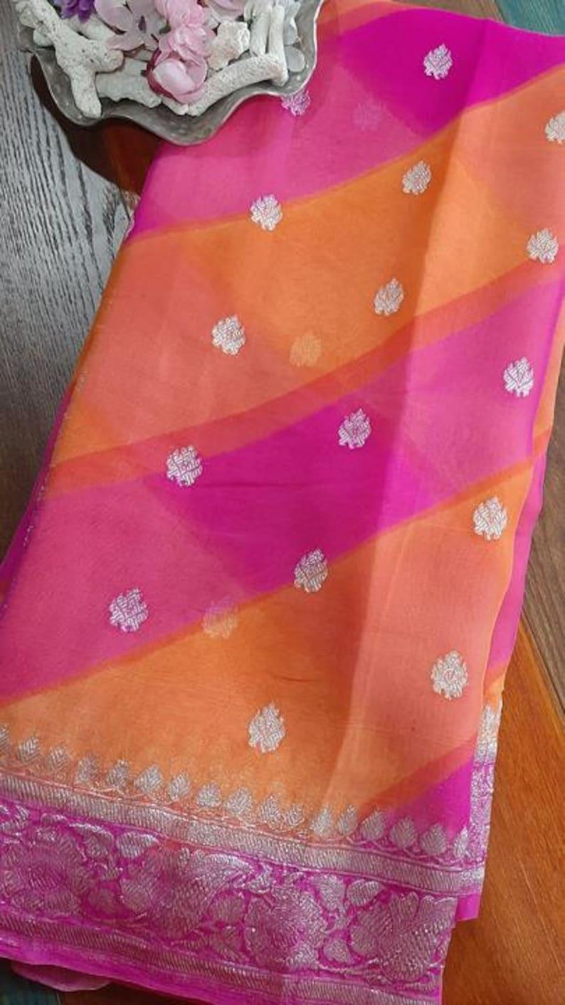Double Shade Durga Puja Zari Work Pure Chiffon Banarasi Silk Handwoven Saree Designer Weaving Fabric Sari Women With Running Blouse Pece