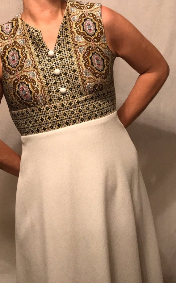 1960s Silk and Polyester Paisley Print Mod Maxi Dr