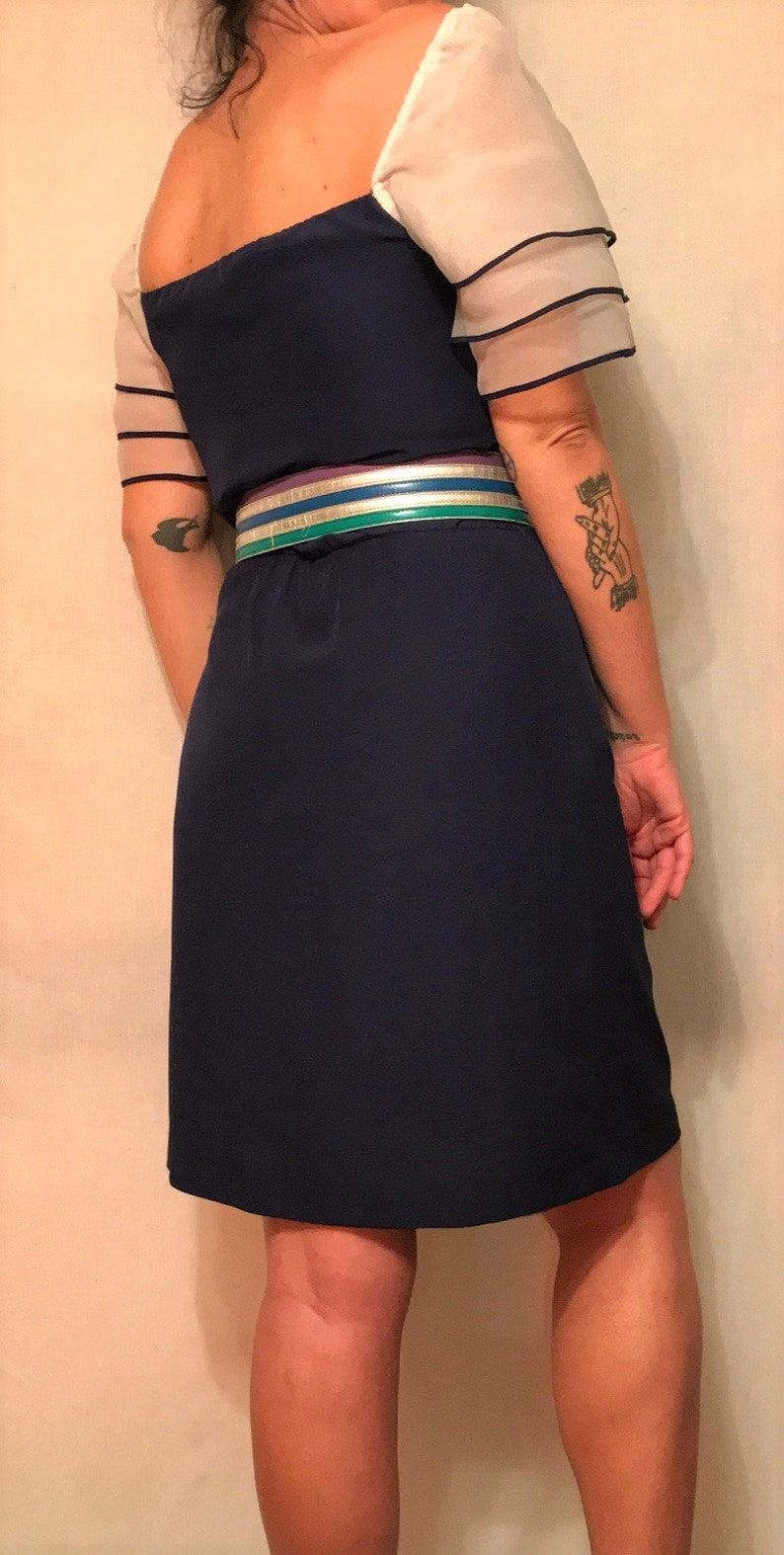 White Organza Puff Sleeves 1980s Silk Navy Blue PartyCocktail Dress A-Line Size SM Elastic Waist