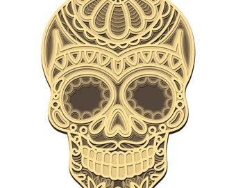 Sugar Skull 3D layered SVG, Digital file Sugar Skull Mandala 3D for cutting plywood, File for paper cutting, DXF, PNG, Dxf, Sugar Skull 3D