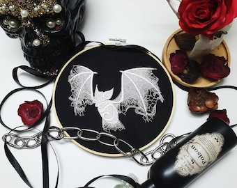 Lace Bat -  Embroidery Hoop Wall Art Gothic Tattoo Spooky Dark Fall Scary Lacey Hanging Needlework Horror Paranormal Scary Halloween