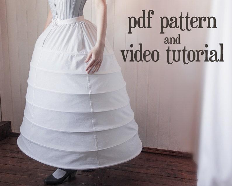 Victorian Lingerie – Underwear, Petticoat, Bloomers, Chemise     Read the full title    1860s narrow hoop skirt (crinoline) PDF pattern $8.00 AT vintagedancer.com