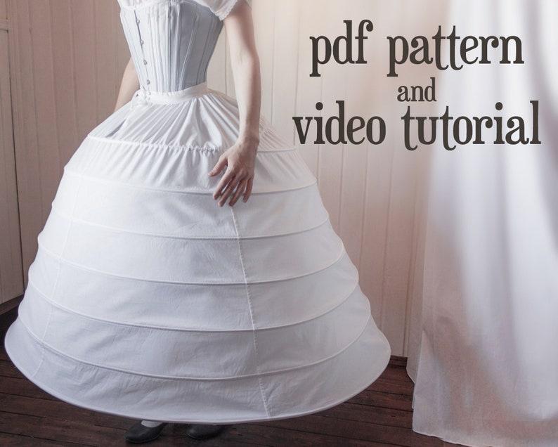 Victorian Lingerie – Underwear, Petticoat, Bloomers, Chemise     Read the full title    1860s large hoop skirt (crinoline) PDF pattern $8.00 AT vintagedancer.com