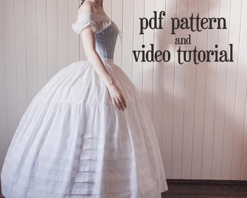Victorian Lingerie – Underwear, Petticoat, Bloomers, Chemise     Read the full title    1860s petticoat PDF pattern $7.00 AT vintagedancer.com