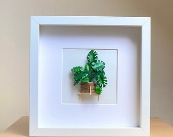 Monstera Deliciosa Framed Wall Art Plant Lovers Gift, Swiss Cheese Plant, Plant Mom Gift From Daughter, Paper Plant Diorama Artwork