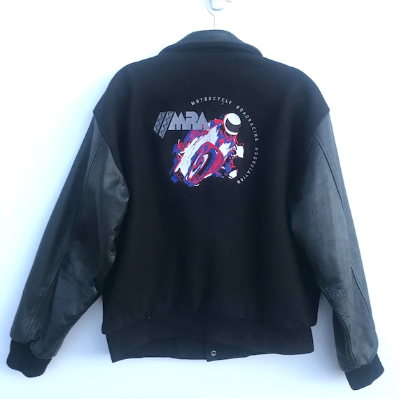 Vintage Motorcycle Wool and Leather Varsity Jacket