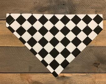 Personalized Checkered Black & White Dog Bandana, Over the Collar Checkered Flag Dog Bandana, Custom Dog Bandana, Dog Bandana, Dog Scarf